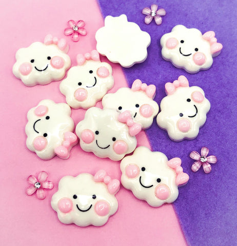 pink and white happy cloud clouds resin resins flat back flatback fb fbs cute kawaii embellishment bow cheek cheeks uk crafts craft supplies cabochon decoden