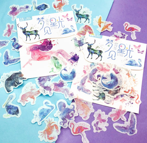 watercolour water colour animals wildlife translucent sticker flake flakes stickers cute kawaii planner stationery uk pack of 40