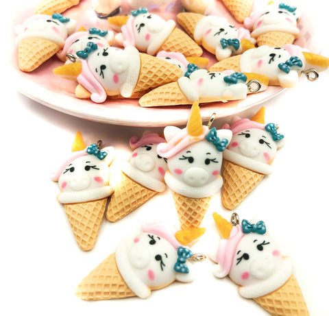 Kawaii Unicorn Ice-Cream Cone Resin Charm