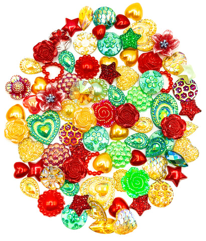 festive flat back bundle of gold red and green fbs embellishments bundles uk craft supplies flatback sparkly christmas
