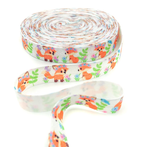 kawaii fox foxes cute elastic ribbon ribbons baby cub cubs woodland foe fold over elastics uk crafts craft supplies stretch bow flowers floral