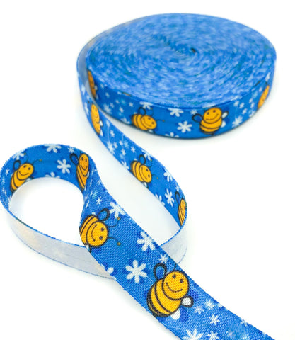bee bees on blue elastic ribbon cute kawaii ribbons foe fold over stretch uk crafts craft supplies honey