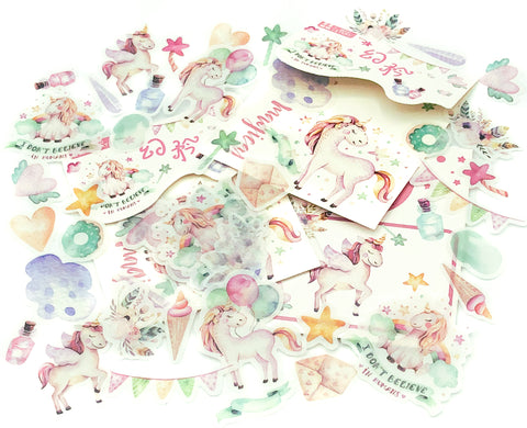 pastel magical unicorn translucent sticker flakes flake pack of 40 stickers kawaii unicorns cute