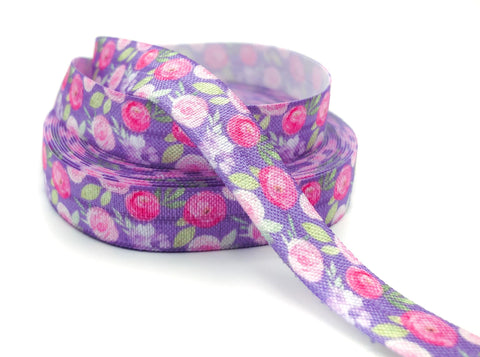 pink rose roses elastic ribbon purple lilac leaves leaf flower floral foe fold over elastics ribbons uk cute kawaii craft supplies