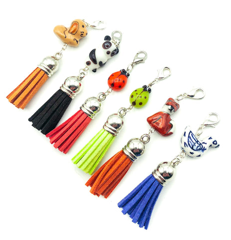 ceramic bead hand made planner clip tassel suede clips charms uk stationery gifts animals panda fox dog beads