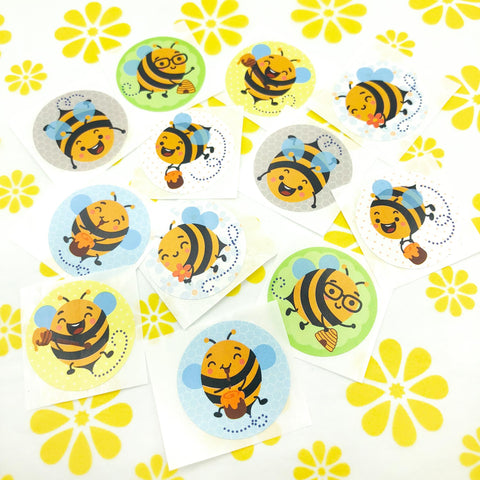 bee sticker stickers 30mm round bees bumblebee honey honeybee cute kawaii stationery packaging uk 3cm fun