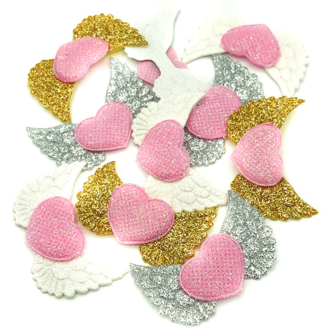 angel wing applique with pink glitter heart angels wings appliques patch glittery craft supplies silver gold white