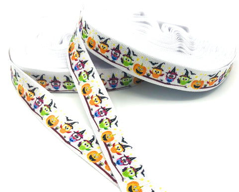 halloween owl owls white elastic foe ribbon one yard pumpkins bats