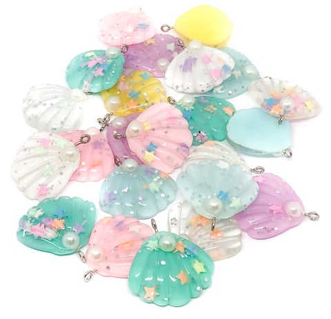 shell resin glitter charm charms seashell shells kawaii mermaid