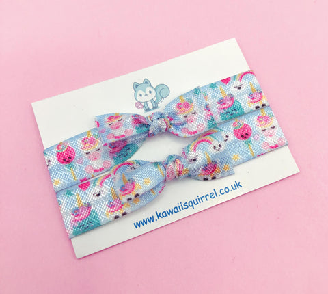 hair ties elastic bow bows elastics girls girl cute kawaii accessory gift uk handmade pretty present single pack blue unicorn pretty sweets cupcake rainbow