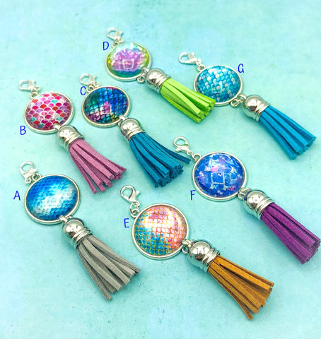 mermaid scale scales large glass cabochon tassel planner charm charms clip clips accessory planning uk gift gifts
