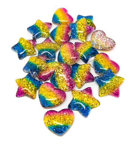 glitter resin star heart stars hearts rainbow stripe sparkly fb flatback flat backs small