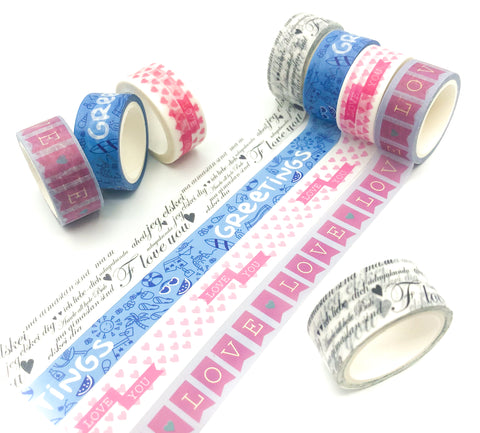 5m washi tape greetings I love you hearts bunting cute tapes uk stationery pink blue