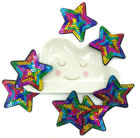 rainbow star sequin iron on patch stars patches appliqués