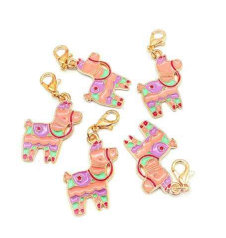 cute llama alpaca llamas alpacas kawaii planner charm charms clip clips accessory pastel pink lilac mint gold tone metal uk gift gifts