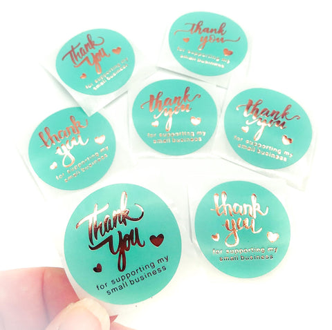 turquoise green thank you for supporting my small business sticker stickers rose gold foil foiled round 38mm large packaging stationery uk heart teal