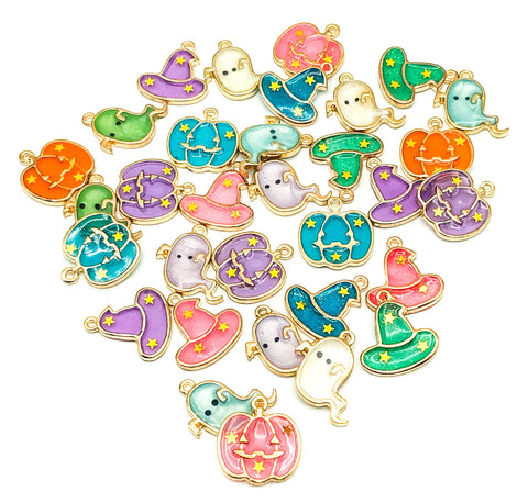 halloween resin metal gold tone charm charms cute kawaii ghost ghosts witches witch hat pumpkin pumpkins uk craft supplies