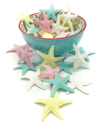 starfish glitter glittery fabric applique patch 48mm