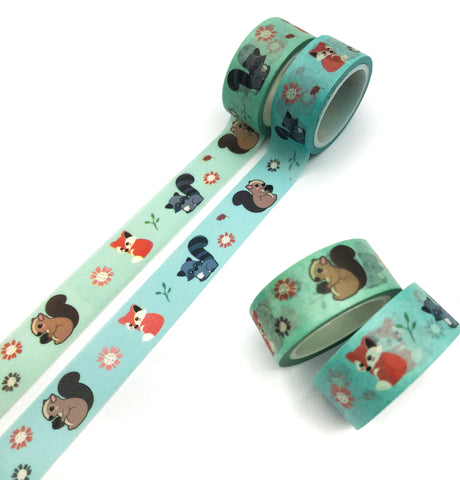 5m woodland washi tape roll 15mm wide fox squirrel foxes squirrels blue green