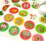 advent calendar make your own calender sticker numbers 1 to 24 round stickers