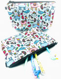 Large Pencil Case/Cosmetic Bag - Magical Creatures
