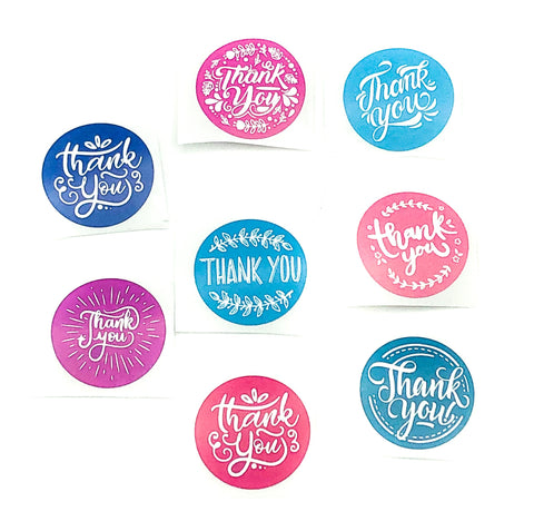 pink blue and turquoise thank you thankyou sticker stickers 25mm small seals packing packaging uk kawaii stationery supplies chalk board script