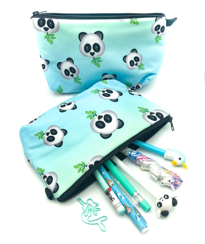 ombre turquoise mint panda face cosmetic bag pencil case large bags uk cute kawaii stationery gifts store pandas gift