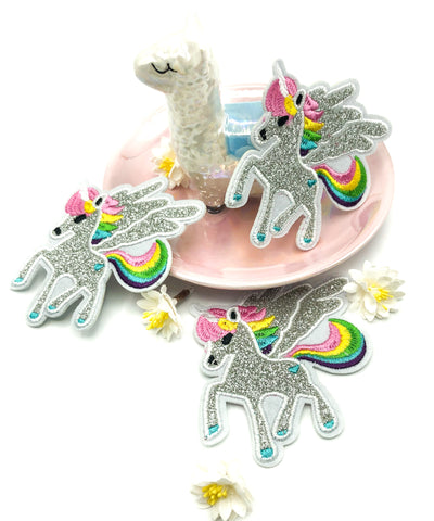 silver glitter flying rainbow unicorn fabric iron on applique patch