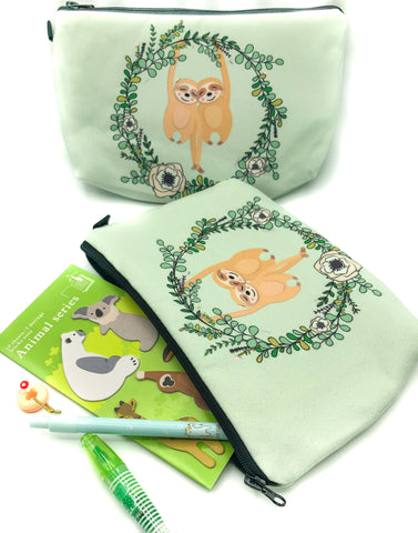 pale mint sloths pencil case roomy cosmetic bag fabric sloth