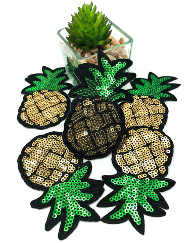 golden pineapple sequin iron on applique patch pineapples uk cute kawaii craft supplies patches fruit