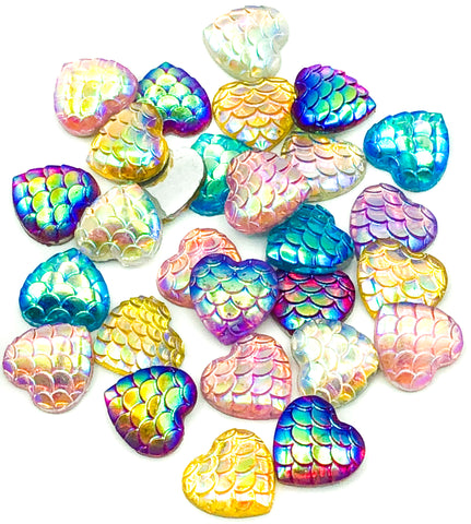 12mm ab heart acrylic mermaid scale flatbacks fbs shimmery fb hearts