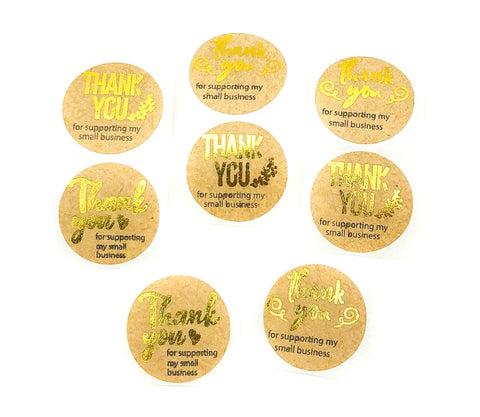 thank you for supporting my small business gold and kraft brown 25mm sticker stickers seals uk stationery packaging supplies packing