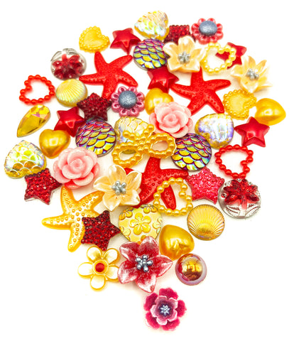 red and yellow sparkly shimmery pearly fb flat back bundle of embellishments uk kawaii craft bundles