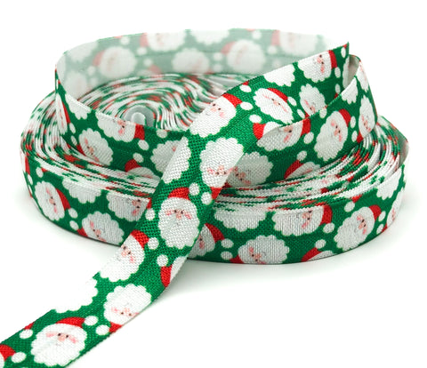 red and green happy santa fold over elastic ribbon yard 15mm wide festive elastics cute kawaii foe fold over ribbons stretchy festive uk craft supplies snow father christmas
