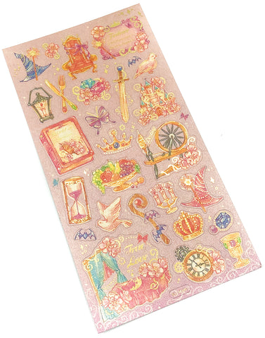 fairytale gold foil foiled flat sticker pack stickers fairy tale sleeping beauty aurora uk cute kawaii stationery