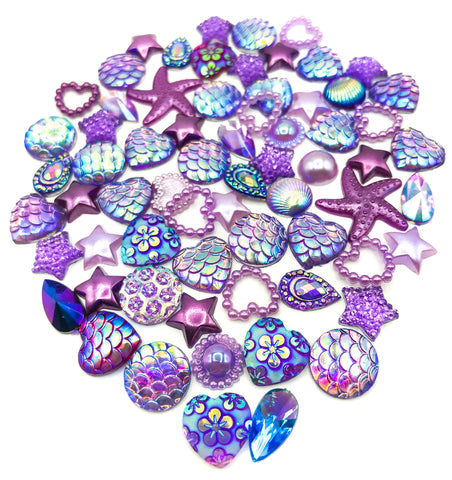 lilac and purple sparkly pearly resin acrylic flat back fb bundle of 20 glitter fbs uk craft supplies bundles