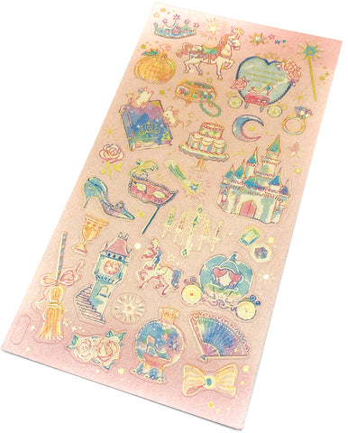 fairytale gold foil foiled flat sticker pack stickers fairy tale cinderella