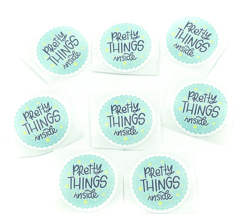 pretty things inside cute small 25mm round stickers sticker seals uk packaging stationery kawaii turquoise mailing