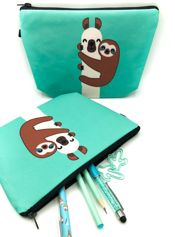 sloth and llama jade turquoise green large fabric cosmetic bag