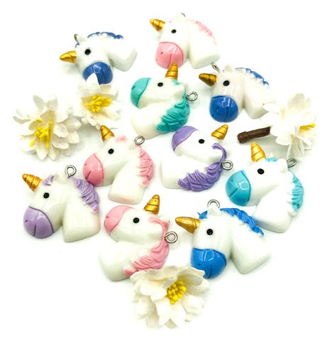 rounded head unicorn resin charm charms unicorns 30mm kawaii