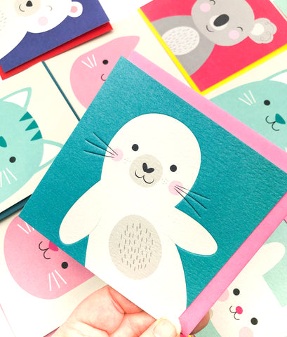 kawaii cute seal seals rex london square greetings card blank uk stationery cards animals animal