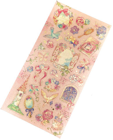 fairytale gold foil foiled flat sticker pack stickers fairy tale rapunzel