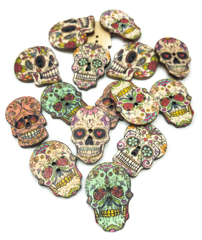 sugar skull skulls wooden 25mm natural buttons uk craft supplies shop