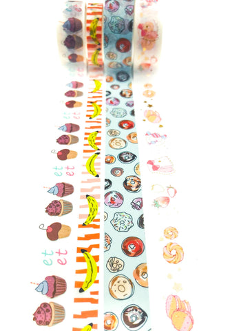 food and sweet treats washi tape bundle cute kawaii tapes uk stationery donut donuts cakes cake banana
