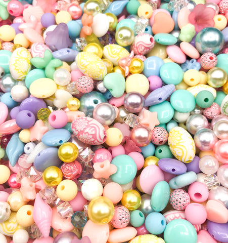 pastel kawaii acrylic beads bundle 40 bead