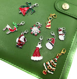 clip on planner charms festive christmas designs santa cats tree snowflakes