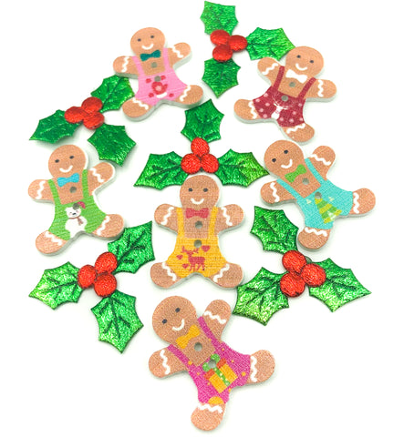 gingerbread man men wood wooden christmas buttons festive button