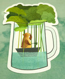cute brown bear and boat  in mug cute teacup postcard post card cards uk kawaii stationery store pretty animal animals