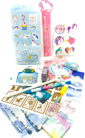 unicorn stationery bundle kawaii uk stickers washi pen memo unicorns