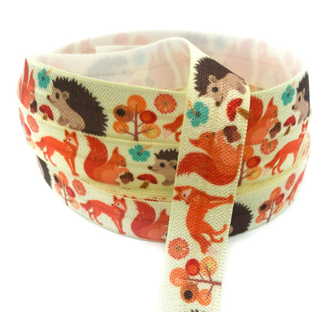 woodland fox hedgehog and squirrel foe elastic ribbon ribbons cute kawaii elastics